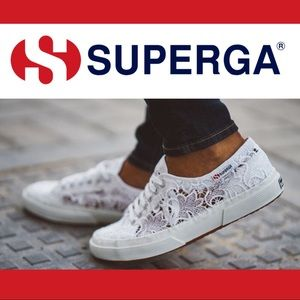 Superga White Lace Macrame Classic Sneakers